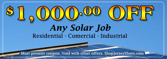 1000 dollars off any solar job in New Jersey residential, commercial and industrial