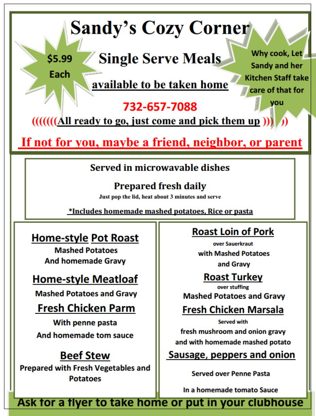 take home dinners from Sandy's Cozy Corner in Ocean County New Jersey